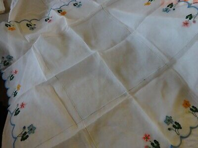 "Vtg ITALIAN Sheer TABLECLOTH Hand Appliqued Linen FLOWERS 43"" Sq Scalloped New"