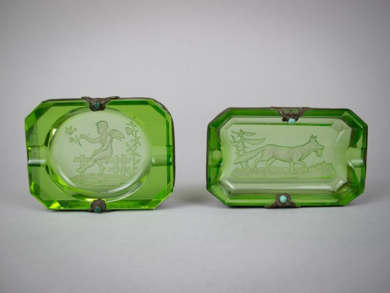 Near Pair of Czech Green Intaglio Dishes With Brass Filigree and Jewel Detail.