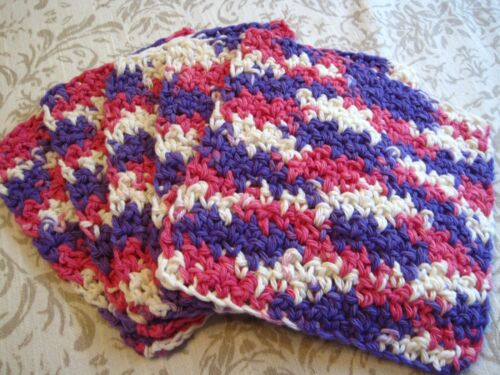 "5 Crochet  Dish / Wash Cloths 100% Cotton - Handmade - 6 ""- Pink / Purple"