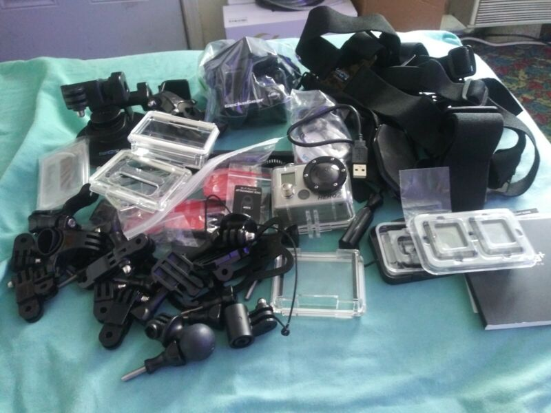 LOT OF GO PRO BRANDED ACCESSORIES PLUS HERO 2 LARGE LOT