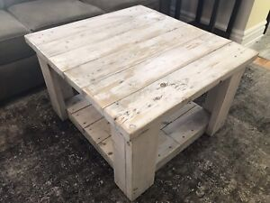 Rustic Distressed Wood White Washed Coffee Table - Reduced $