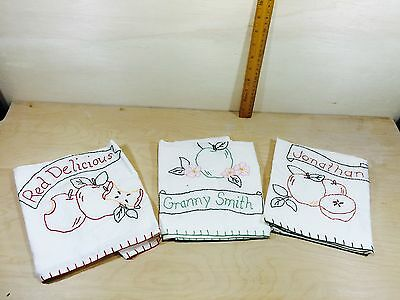 NEW Set 3 Embroidered Apple Varieties Dish Towels 100% Cotton 66573
