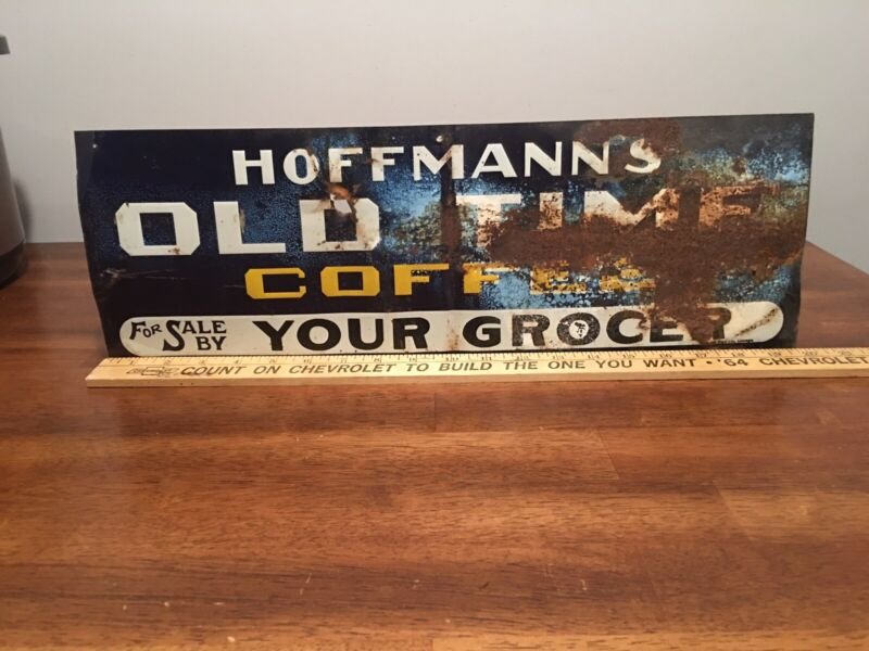 Hoffmanns Old Time  coffee Original Tin Tacker 30's