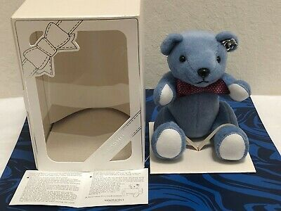 New Mikimoto Blue Teddy Bear Cell Phone Holder with Pearl Silver Pin brooch