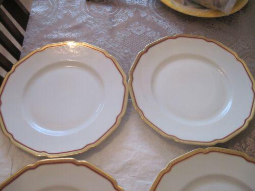 "Heinrich H&Co Selb Bavaria Germany 10"" 6  Porcelain Dinner Plates Gold & Red"