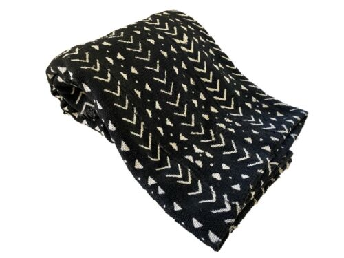 """African Bogolan Black and White Mud Cloth Textile Mali 49"""" by 61"""""""