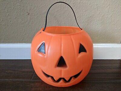 "Vintage 8"" Empire Blow Mold Pumpkin Jack O Lantern Candy Bucket Trick or Treat"
