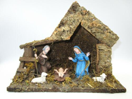 NATIVITY CRECHE Manger Wood Mossy 5 Attached Figures Made In Italy 9.5 x 7.5 in.