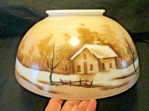 """ANTIQUE~~14"""" HANGING OIL LAMP SHADE~~HOUSE WRAP-A-AROUND SCENE"""