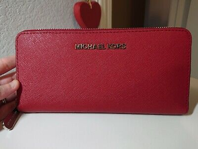 Michael Kors Red Saffiano Leather Zip Around Wallet