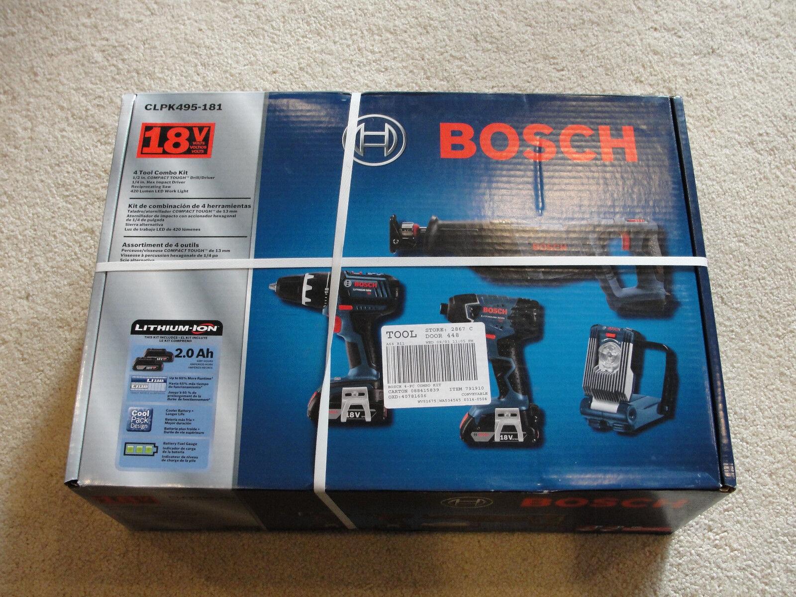Bosch CLPK495-181 18-Volt 2.0Ah 4-Tool Drill/Driver and Reci