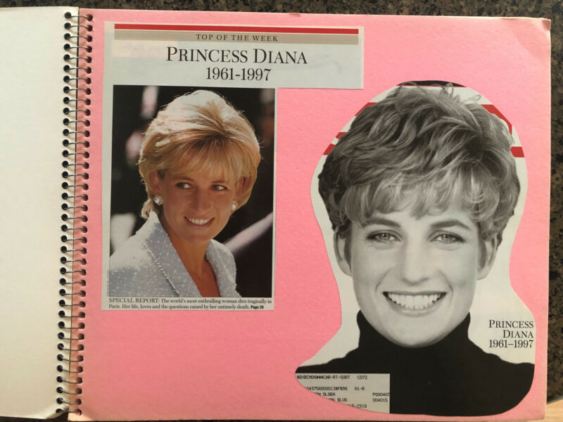 Princess Diana HomeMade Scrapbook 70 Pages of Pictures And Articles 1997