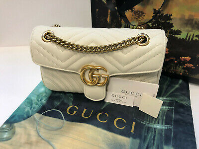 GUCCI Marmont Matelasse Small Shoulder Bag White Genuine Leather Bag