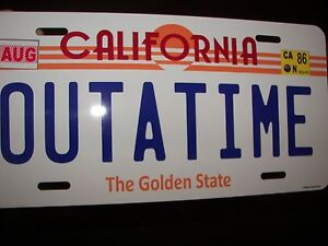 Back-to-the-Future-Delorean-OUTATIME-LICENSE-PLATE-with-FREE-DRIVERS-LICENSE