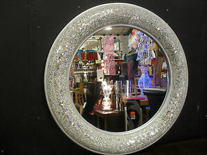 Round crackle bow design wall mirror silver frame mosaic for Miroir mosaique rond