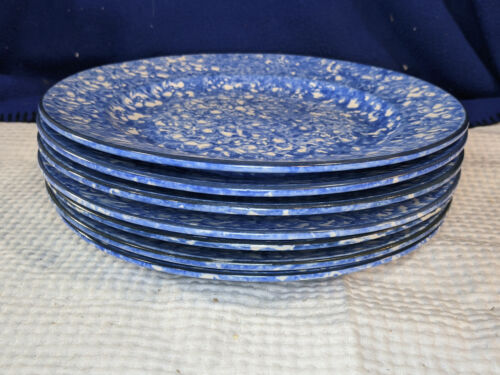 STANGL~Town And Country~Blue Spongeware~Dinner Plates~Set of 7~NICE!