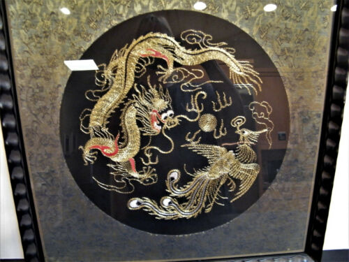 Antique Chinese Dragon Forbidden Blind Stitch Framed Tapestry Embroidered Silk