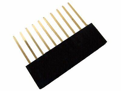 10 Pins 10p 2.54mm 0.1 Female Header Long Pin 11mm - Black - Pack Of 10
