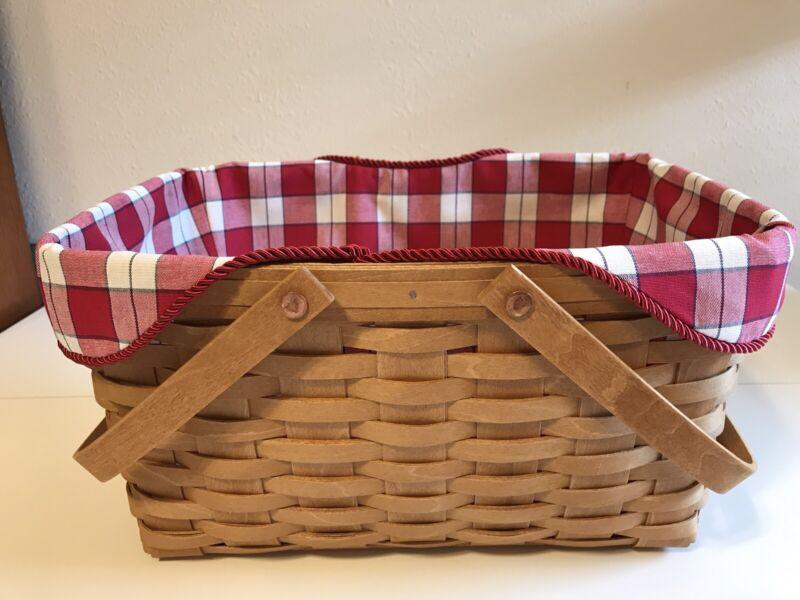 Medium Market Basket Liner from Longaberger Picnic Plaid Fabric
