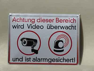 Blechschild Achtung...Video überwacht Alarm gesichert Blechpostkarte 10x15 Neu