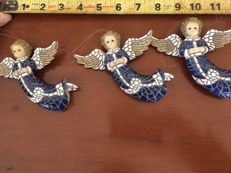 Three Blue White Gold Mosaic Angel Ornaments