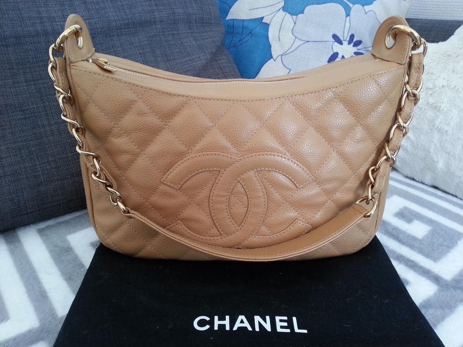 Rare superbe authentique sac a main chanel en cuir grainé matelassé marron *tbe*