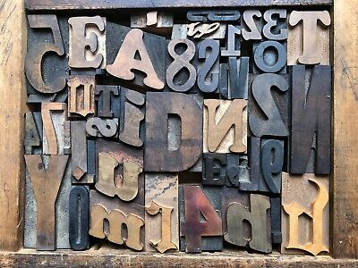 Antique Letterpress Printers Wood Type Mix 43 Pieces