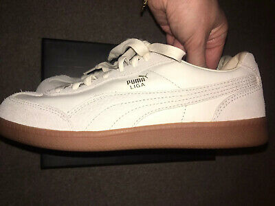 Puma White Leather And Suede Liga Trainners