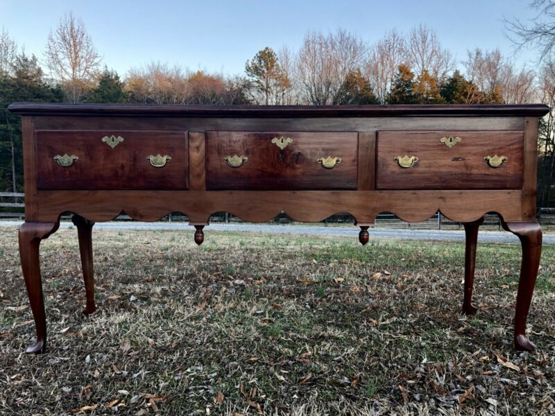 Outstanding Antique Cherry Queen Anne Style Server Sideboard Buffet 1969