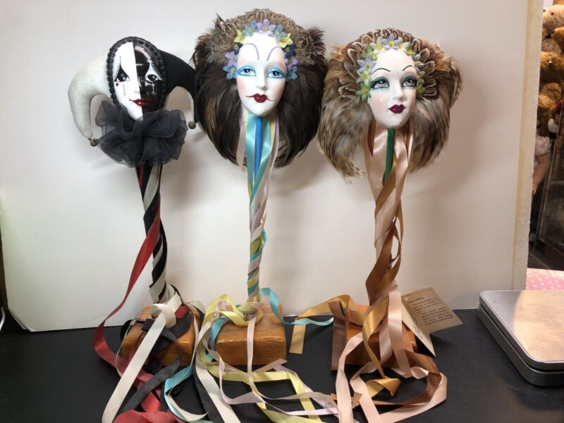 "16-17"" Artist Made ""Just In Jest"" Jester Masks Sculptures Rikki Kipple Gilbert L"