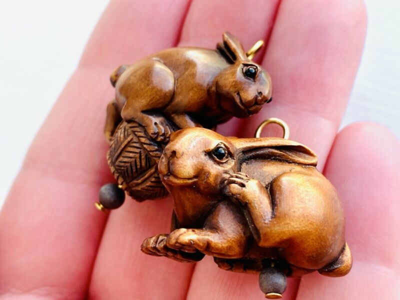 Set of Two Carved Rabbit Pendants, Hand Carved Wooden Pendants, Rabbit Pendants