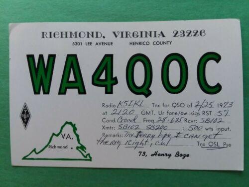 RICHMOND, VIRGINIA- LEE AVE.- HARRY BAZE- WA4QOC- 1973- QSL