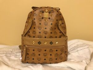 100% Authentic Like New MCM Dual Stark Medium Backpack in Cognac