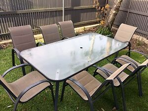 Outdoor Glass Table + 8 Chairs Liverpool Liverpool Area Preview