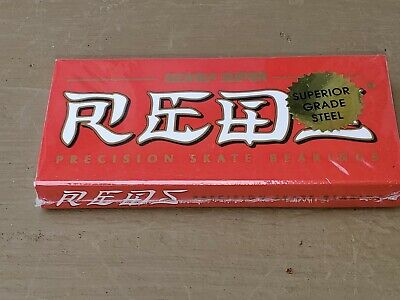 New & Sealed!  Set of 8 Authentic BONES SUPER REDS Skateboard Bearings - NIB!