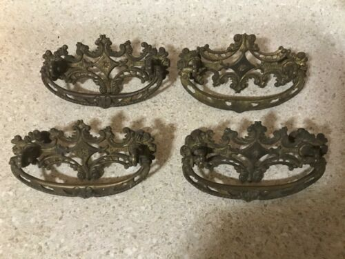 Extremely RARE VICTORIAN  SET Period GILDED BRASS Original PULLS Spectacular!