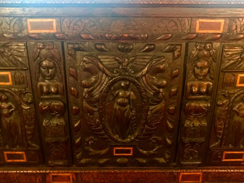 18th Century English Oak Coffer Trunk w) 16TH CENTURY TUDOR RELIEF FACADE!