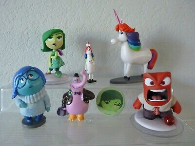 Lot of (6) Disney Pixar INSIDE OUT Figure Character Toys + Pinback Button
