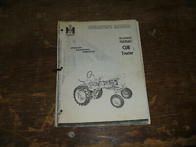 Ih International Mccormick Farmall Cub Tractor Operator Maintenance Manual