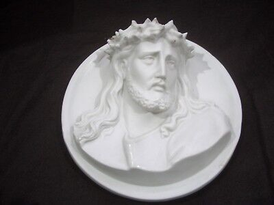 Jesus mit Dornenkrone Wandrelief Relief Büste Porzellan ? Guss