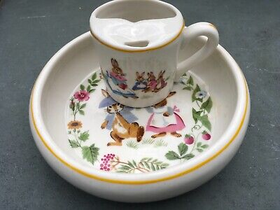 """VINTAGE """"TOT TRAINER"""" 60'S CHILD'S DISH (BOWL/PLATE) & CUP TODDLER"""