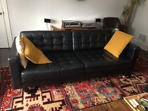 Landskrona IKEA Black Couch and Ottoman
