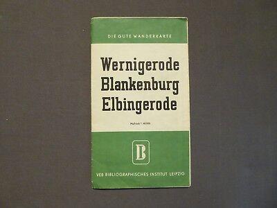 Landkarte, Die gute Wanderkarte Wernigerode, Blankenburg, Elbingerode, DDR 1957