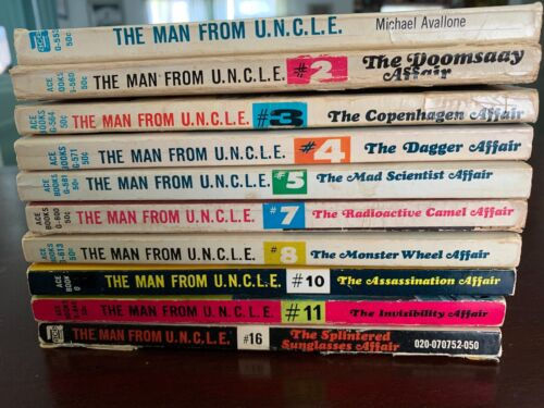 1965-66 Man from UNCLE Paperback Book lot of 10 great reads!