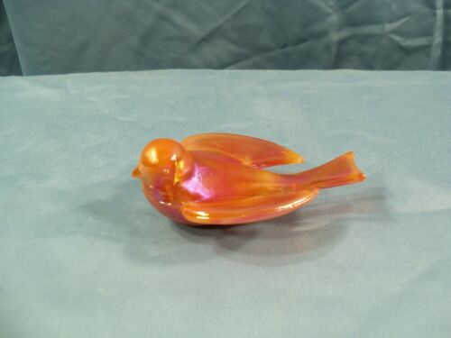 Summit From Westmoreland Mold Orange Carnival Glass Swallow Bird Figurine