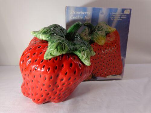 Vintage 1999 STRAWBERRY COOKIE JAR by Hearthstone Porcelain In Original Box!