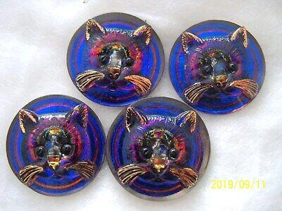 24K GOLD  27mm  C  020 4 PCS CAT CZECH GLASS BUTTONS
