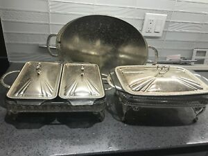 Silver plated dishes and try