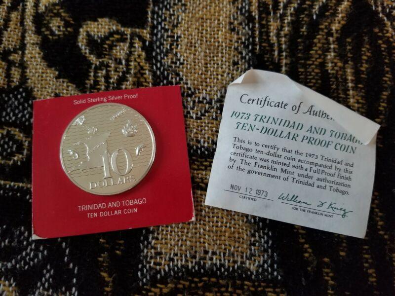 Trinidad & Tobago 10 Dollars 1973 Silver in Presentation Case