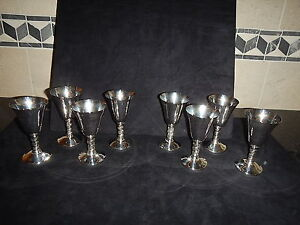 SILVERPLATE GOBLETS CORDIALS WINE SET OF 8 J PEREZ RUIZ SPAIN GORGEOUS SET